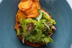 Carrot Romesco, Green Salad, Potato Chips Image